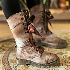 Ladies Women Combat Army Military Shoes Floral Lace Up Flat Biker Mid-Calf Boots