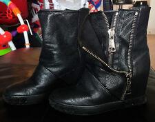 Casadei Black Leather Side Zip Booties