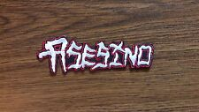 ASESINO,IRON ON WHITE WITH RED EDGE EMBROIDERED PATCH