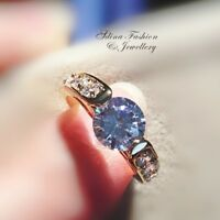 18K Yellow Gold GF Diamond Round Cut 2.0 ct Side Stone Engagement Wedding Ring