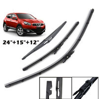 3PCS Front Rear Windscreen Flat Wiper Blades Kit Set For Qashqai/+2 J10 07-13