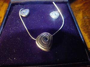 Ortak Silver Blue Topaz November Birthstone Pendant & Earings Malcolm Gray