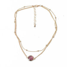 2 Layer Crystal Opal Natural Stone Pendant Necklace Choker Women Jewelry ce