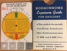 Vintage 1950's Kodachrome Exposure Guide For Day, For 16MM & 8MM Film Cameras