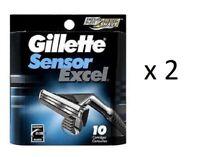 Gillette Sensor Excel Razor Refill Cartridges 10 ct (2 Pack)