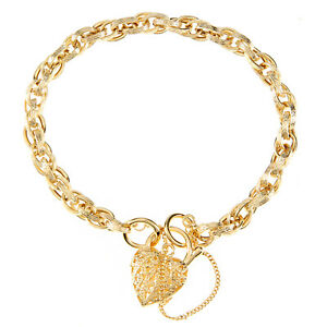 Women's 9ct Yellow Gold Bracelet Charm Bracelet with Safety Chain by Elegano