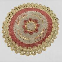 """Antique Doily - Vintage Belgium Tapestry Round Chenille!!! - Dollhouse Rug - 8"""""""