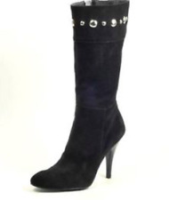 f617285f6e6 GUESS Nerina High HEELS High BOOTS PUMPS Shoes Black 9.5 Suede Studs