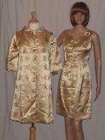 Vintage 1950s Asian Wiggle Dress & Jacket Gold Silk Satin Cheongsam Pinup Small