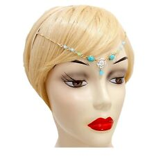 Abverkauf Luxus Haarreif kette Anhänger Kristall Perlen Opal Minz Steine Türkis