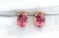 14Kt Gold Oval AAA Natural Brazilian Pink Tourmaline Gemstone Gem Stone Earrings