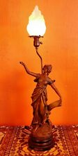 """New listing Antique Large Nouveau French Spelter Figural Lady Lamp """"La Glorie"""" by Geo Maxim"""