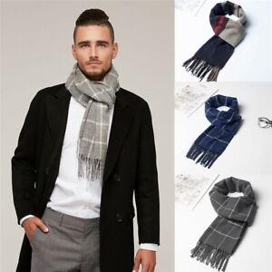 Men's Autumn Winter Cashmere Warm Warps Scarfs Scotland Striped Check Super Soft
