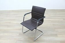 ICF Brown Ribbed Leather Cantilever Office Meeting Chair