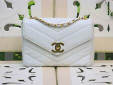 Chanel White Quilted Caviar Leather Jumbo Flap Bag VTG Vertical Coco Envelop bag