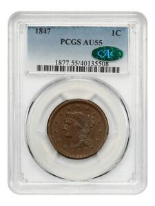 1847 1c PCGS/CAC AU55 - Braided Hair Large Cents (1839-1857)