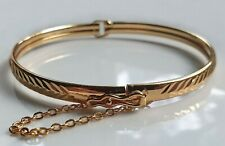 d81ecf2ce0b0a GENUINE LARGE 9ct Gold Bracelet Bangle gf, COMES WITH SAFETY CHAIN { L}