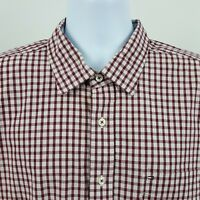Tommy Hilfiger Burgundy/Red Gingham Check Men's L/S Collar Button Shirt Sz XL