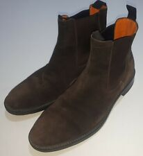 Santoni Chelsea Boots Suede Brown7 Made In Italy