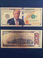 PRESIDENT TRUMP 2020 DOLLAR BILL WITH 2 MILL PLASTIC SLEEVE FAST SHIP