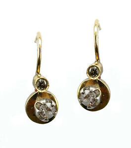 Antique 1900's Diamonds 14k Yellow Gold Cute Earrings