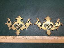 Set of 2 Cast Brass Drawer Cabinet Pull Backplates Marked Ar Co. No. 4904