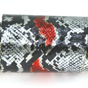 CLEARANCE SALE Python Print-on Snake Skin Hide Leather Snakeskin Silver/Red