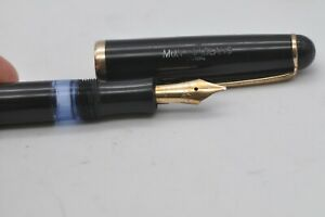 Lovely Rare Vintage Montblanc No3-44 Fountain Pen Black & Gold - 14ct Broad Flex