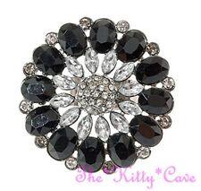 Big Victorian Vintage Look Black White Floral Cluster Ring w/ Swarovski Crystals