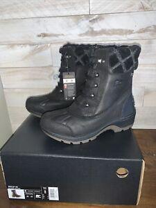 NIB Womens Sorel Whistler Mid Black Leather Waterproof Boots - US size 8