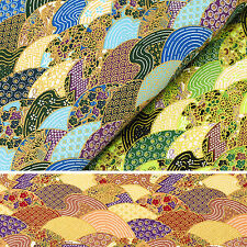 Japanese Cotton Fabric FQ Oriental Sea Wave Fish Circle Flower Asian Retro VJ27