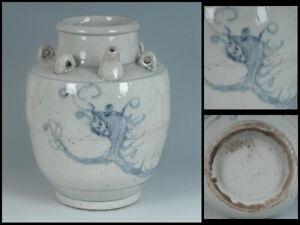 Korean Joseon Dynasty Dragon Flower Vase Pot / H 22.6[cm]