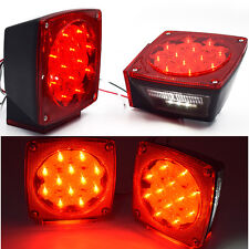 "On Sale Pair Boat LED Square Lights Trailer Under 80"" Tail Stop Brake"