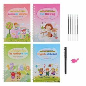 4Pcs Magic Practice Copybook Reusable Handwriting Copybook English Number Book