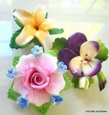 VINTAGE fine BONE china PORCELAIN flower pin LOT SIGNED ARTONE, CARA, DENTON C7