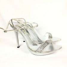 Claudio Milano Leather Sandal Silver Crystal Size 41 Italy #291