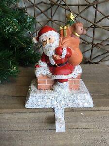 Gisela Graham Christmas Santa and chimney glitter stocking hanger 18cm