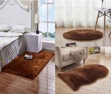 Sheepskin Fur Rug Soft Chair Pad Seat Cover Non Slip Fluffy Carpet Mats Coffee