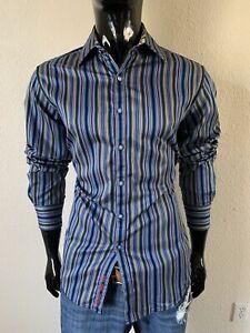 Robert Graham LS Electric Blue/Green Stripe Dress Shirt Small Classic Fit Mint!