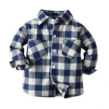 Boy Girl Button Down Plaid Shirt Toddler Casual Long Sleeve Cotton Shirt New