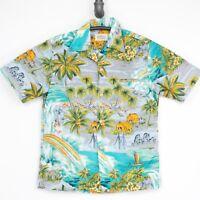 VTG Malihini Hawaiian Aloha Shirt M Gray Blue Rainbow Waterfall Hut Palm Tree
