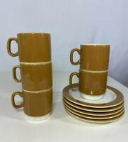 Vintage Pagnossin Espresso Treviso Italy Set of 5 Cups/Saucers, Mocha, #769