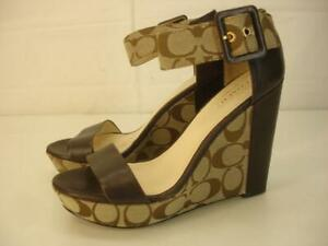 Women's 6.5 B M COACH Jerri Brown Monogram Leather Platform Sandals Ankle Strap