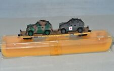 N Scale VTTX 42851 TTX Flat Freight Car with Custom 2 Humvees Load