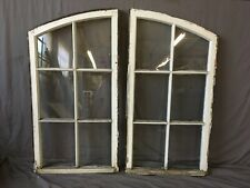 Antique 6 Lite Pair Semi Arch Casement Windows 46x48 Sash Vtg Chic 256-19E