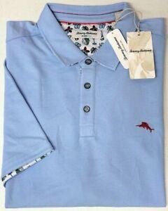 NEW $110 Tommy Bahama Short Sleeve Light Blue Shirt Mens 5 O'Clock Fiesta Polo