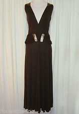 "BNWT:SASS&BIDE BROWN TENCEL MAXI DRESS W/LEATHER TRIM 40/4/10""LITTLE BLACK BOOK"""