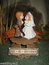 Wedding ~Git n Hitched~ Sign Camo Kissing Bride & Groom Cake Topper Brown Base