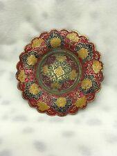 Vintage Indian Brass Enamel Candy Trinket Dish Floral Design Tray