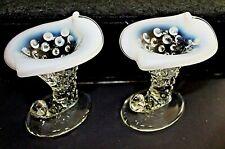 Vintage Mini Glass Opalescent Hobnail Cornucopia Vase